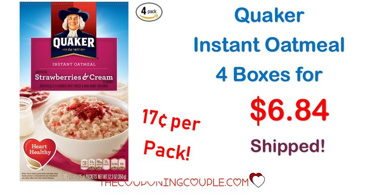 WOW! If you like oatmeal, you are going to love this deal! Get Quaker Instant Oatmeal Strawberries & Cream for only 17¢ per pack! What a cheap breakfast!  Click the link below to get all of the details ► http://www.thecouponingcouple.com/quaker-instant-oatmeal/ #Coupons #Couponing #CouponCommunity  Visit us at http://www.thecouponingcouple.com for more great posts!