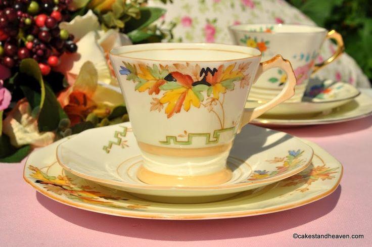Tuscan Art Deco 2871A Cream Teacup Trio