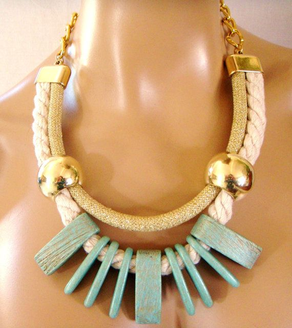 Rope Tribal Necklace, Statement Necklace, Ceramics in Veraman Mint and Gold, Cotton and Gold Rope, Party Bling