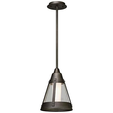The North Bay contemporary outdoor LED hanging light by Troy Lighting is a conical clear seeded glass shade with graphite finish on the frame.