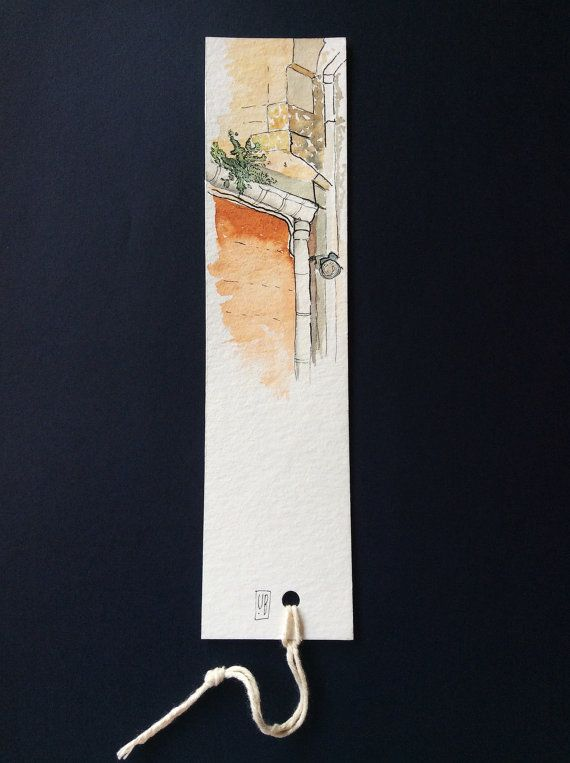 A delicate handmade bookmark of a fragment in Observatory, Cape Town watercolour on acid free, age resistant, matte Britannia Watercolour paper 300gsm