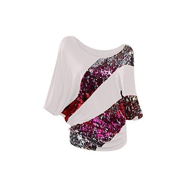 NiSeng Donne Irregolari Paillette Manica Corta T-shirt Batwing Delle A... ($13) ❤ liked on Polyvore featuring tops, t-shirts, pink tee, batwing t shirt, batwing tops, pink top and pink t shirt
