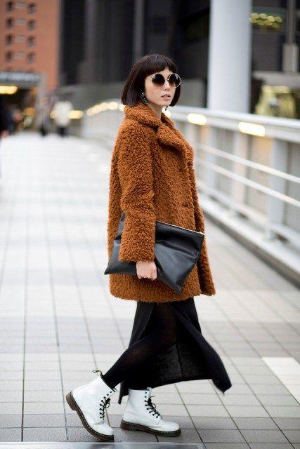 black maxi skirt, black stockings, white doctor martens boots, xl clutch, retro glasses