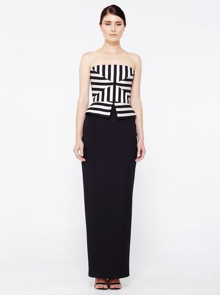 EILEEN KIRBY - Myka Long Dress - Black - Strapless - Straight Skirt - Gown - Evening Dress $469.90