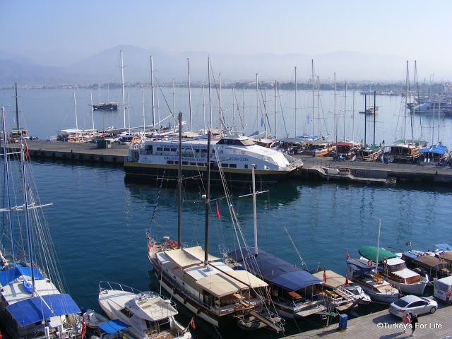 View of beautiful Fethiye Harbour from Alesta Yacht Hotel. http://www.turkeysforlife.com/2012/10/alesta-yacht-hotel-fethiye-turkey.html