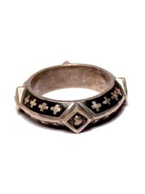 Tobias Wistisen Silver Enameled Motif Ring