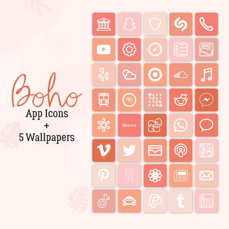 Give a personal touch to your iphone home screen! 75 Boho Neutral App Icons Modern Boho Aesthetic iPhone ...