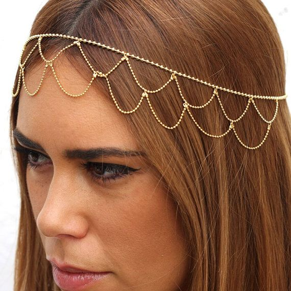 Wedding 24k gold plated accessory Hair jewelry Head by streetcats, $49.00