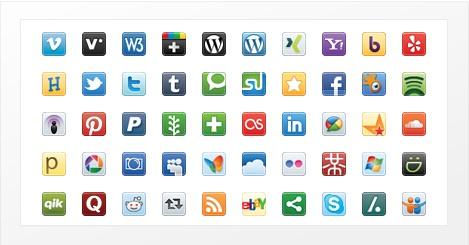 Social media vector iconenset » Dit is een van de allerbeste iconenset voor eenvoudige maar schaalbare social media iconen. De set bevat ruim 100 iconen en je krijgt behalve PNG iconen ook een vectorbestand aangeleverd. Kies dus voor iedere resolutie!