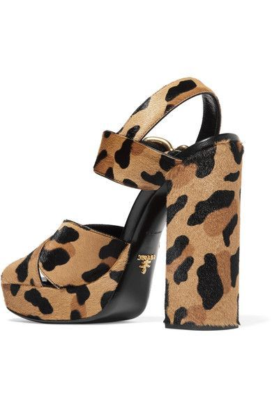 Prada - Leopard-print Calf Hair Platform Sandals - Leopard print - IT38.5