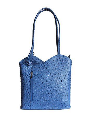 Multi-Way Blue Ostrich Leather Shoulder Bag/Backpack