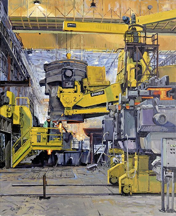 H.D. Tylle - Filling the Tundish, Charter Steel, Charter Steel, Cleveland, OHIO, USA, 2007, 43 x 35 inch, oil/canvas