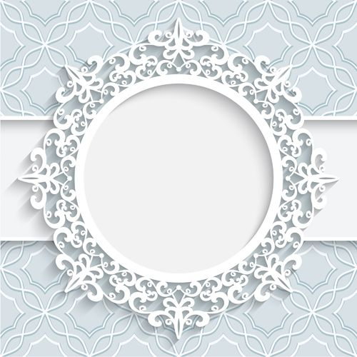Lace ornament paper frame vector 01