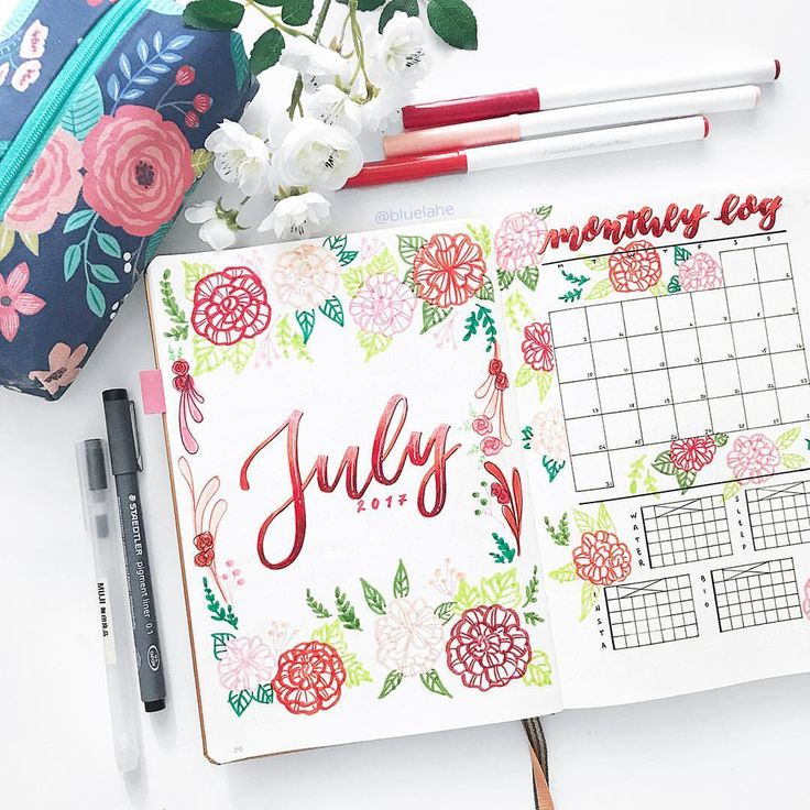 "2,883 Likes, 30 Comments - Yu | Bullet Journal, Studygram (@bluelahe) on Instagram: ""Just uploaded my July plan with me video (link in bio) ❤️ May have exaggerated with the flowers…"""