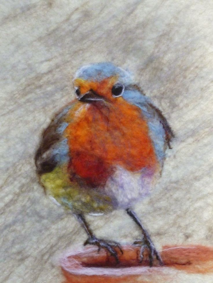 Wet felted robin redbreast. Wool painting. MarmaladeRose