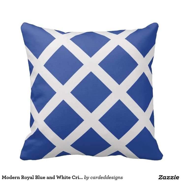 Royal Blue And White Throw Pillows : Modern Royal Blue and White Criss Cross Stripes Throw Pillow Blue and, Throw pillows and Criss ...