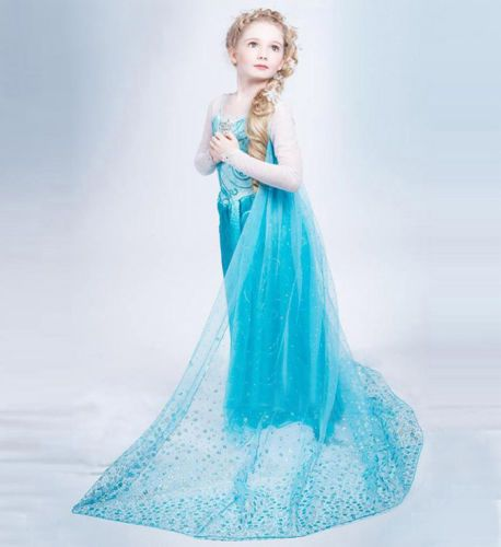 Robe-Deguisement-Costume-La-Reine-des-Neiges-Frozen-Elsa-Anna-Enfant-Fille-NEUF