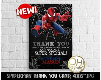Spiderman THANK YOU CARD, spiderman party, spiderman birthday, spiderman party supplies,spiderman favors ,spiderman tags,spiderman printable