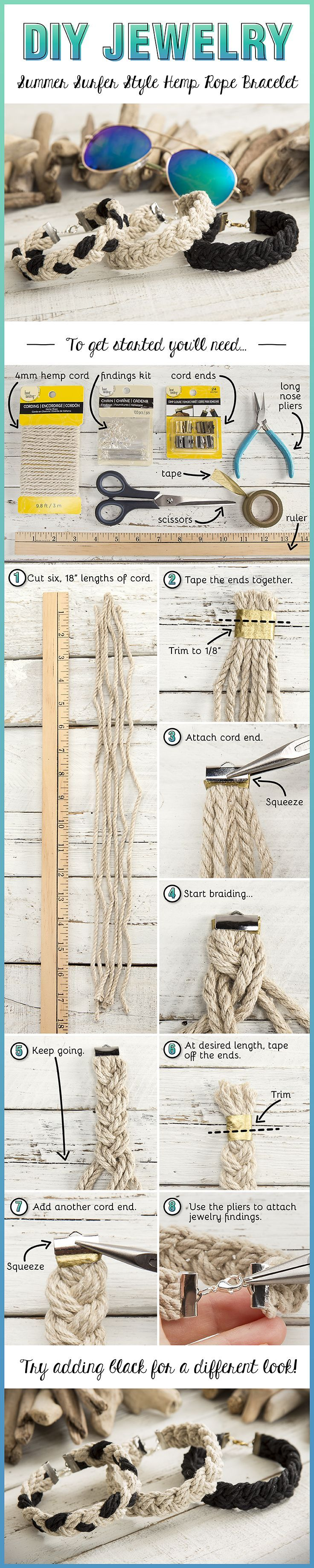 Create this easy DIY Summer Surfer Style Hemp Rope Bracelet in just a few steps.