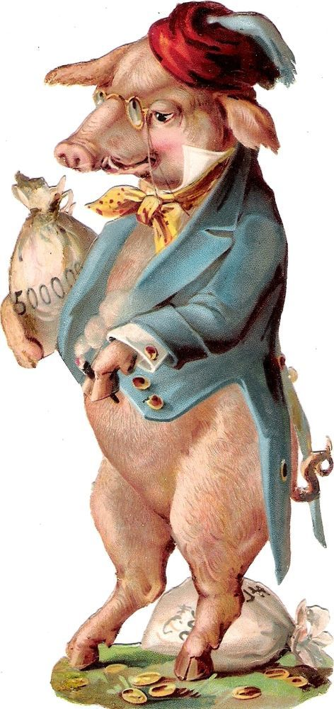 Oblaten Glanzbild scrap die cut chromo Schwein XL 15,8cm pig cochon humanised