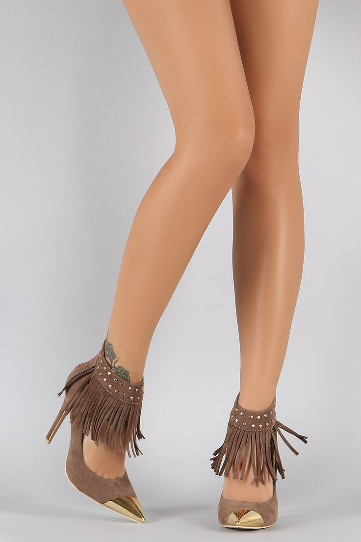 Pointy And Posh Top 65 Amazing Stiletto Nails: Studded Fringe Ankle Cuff Pointy Toe Stiletto Pump