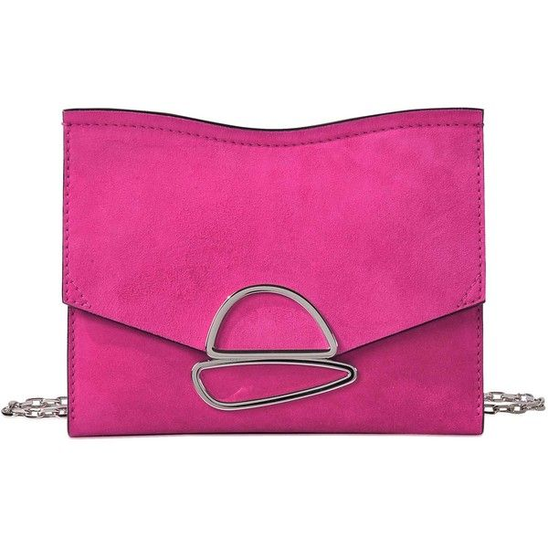 Proenza Schouler Small Curl chain clutch ($404) ❤ liked on Polyvore featuring bags, handbags, clutches, pink, clasp purse, proenza schouler purse, pink clutches, proenza schouler pochette and chain handbags