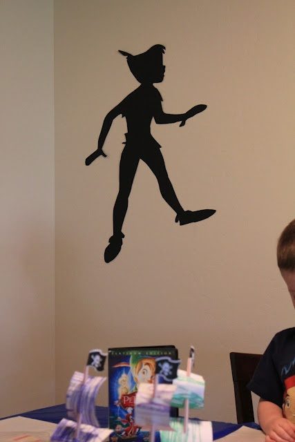 So cute! Cut a Peter Pan silhouette out of black card stock for Peters shadow, all over the walls of the room