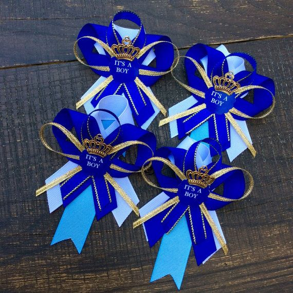 Royal blue Little prince baby shower pins by Marshmallowfavors
