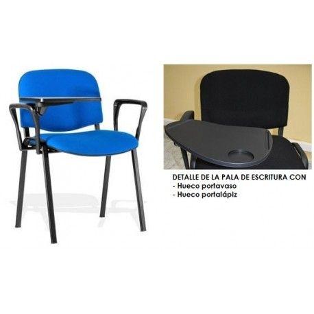 Silla PISA, brazos y pala, chasis negro, tapizado negro o azul