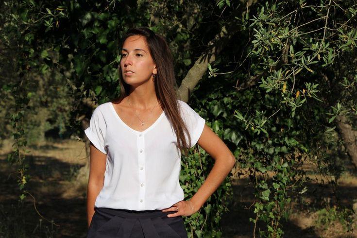 Blouse Trop top Version B boutonnée devant, Patro de couture Ivanne S -By Sandra's hand (+ TUTO)