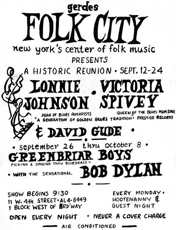 09 26 1961 - gerdes folk city - Bob Dylan Poster