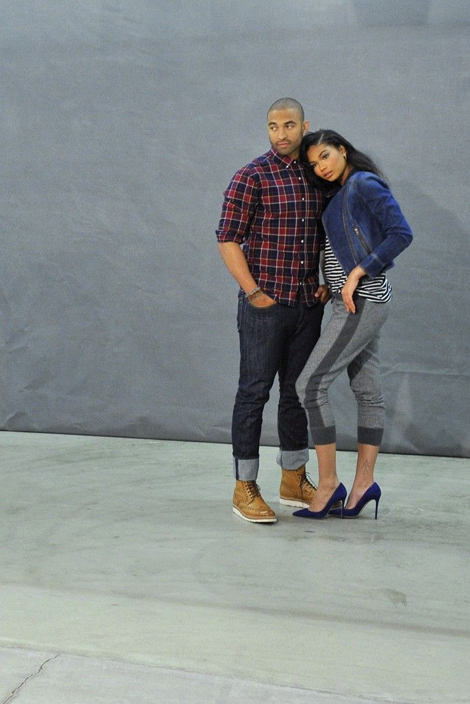Matt Kemp behind the scenes of the ad shoot for Gap's outlet stores with model Chanel Iman. [Photo by Donato Sardella]