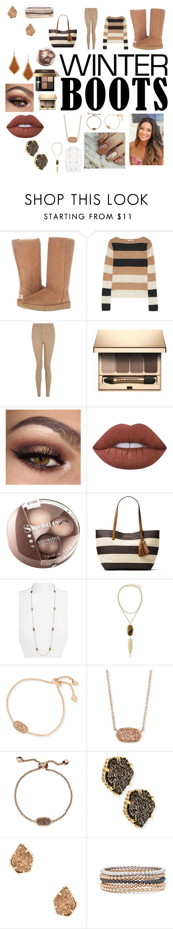 """""""Brown Shades of Warmth"""" by cutekj103 ❤ liked on Polyvore featuring UGG Australia, MaxMara, Topshop, Clarins, Bobbi Brown Cosmetics, Lime Crime, Bourjois, MICHAEL Michael Kors and Kendra Scott"""