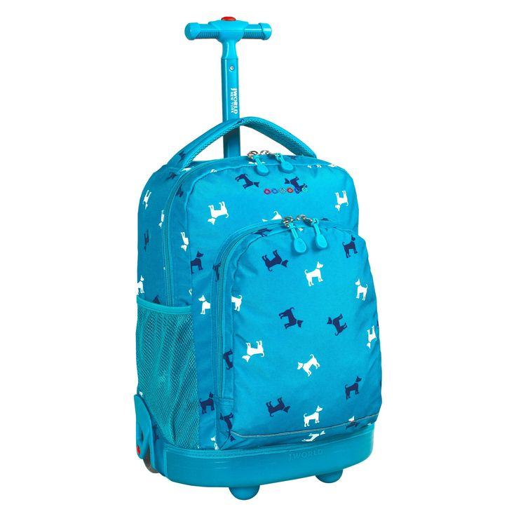 J World Sunny Rolling Backpack - Blue Puppy