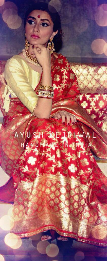 Benarsi Saree by Ayush Kejriwal For purchase enquires email me at ayushk@hotmail.co.uk or whats app me on 00447840384707. We ship WORLDWIDE. #sarees,#saris,#indianclothes,#womenwear, #anarkalis, #lengha, #ethnicwear, #fashion, #ayushkejriwal,#Bollywood, #vogue, #indiandesigners