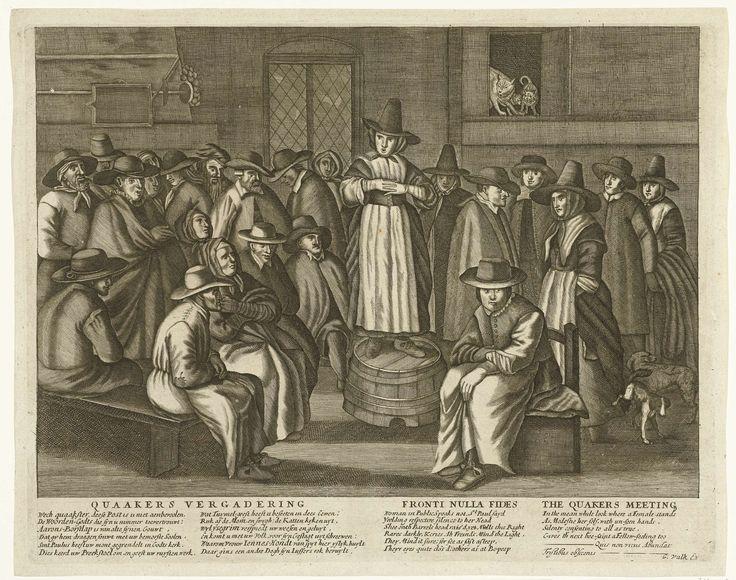 Anonymous | Spotprent op de Engelse Quakers, ca. 1656, Anonymous, Carel Allard, Egbert van Heemskerck (I), 1675 - 1725 | Spotprent op Engelse Quakers, ca. 1656. Bijeenkomst van Engelse mannen en vrouwen in het kostuum van de Quakers in een schuur, zij luisteren naar de preek van een vrouw die op een omgekeerde ton staat. Boven in een kastje miauwen katten, rechts plast een hond tegen de rok van een vrouw. In het onderschrift twee verzen in het Nederlands en Engels waarin de Quakers…