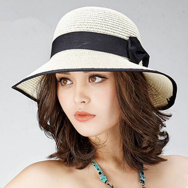 Black and white straw hat for women with bow package sun hats beach wear  f4cf82f7d3c9