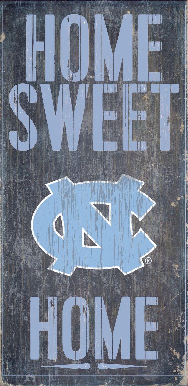 "North Carolina Tar Heels Wood Sign - Home Sweet Home 6""x12"""