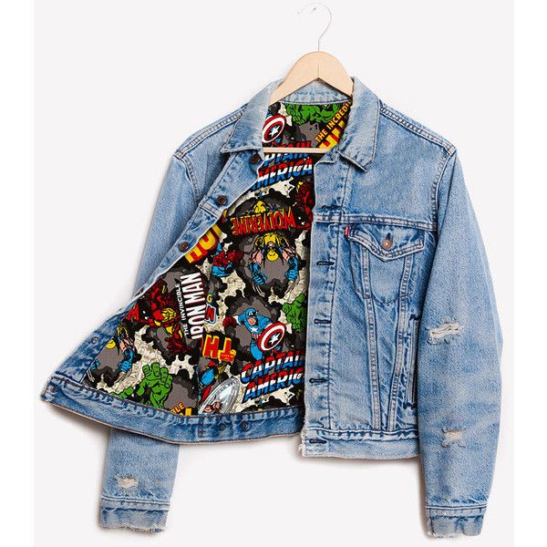 Runwaydreamz Rwdz X Marvel Iron Man X Levis Lined Jacket (375 AUD) ❤ liked on Polyvore featuring outerwear, jackets, marvel, tops, coats, grey, women's clothing, lined jacket, gray jacket and vintage jackets