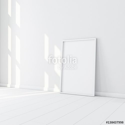 "Download the royalty-free photo ""White Frame with Poster Mockup standing on the floor in empty room. 3d rendering"" created by customdesigner at the lowest price on Fotolia.com. Browse our cheap image bank online to find the perfect stock photo for your marketing projects!"