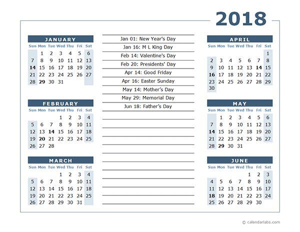 6 Month 2018 Calendar Printable