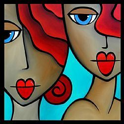 Art: Faces1215 3030 Original Abstract Art Painting Sister Act by Artist Thomas C. Fedro