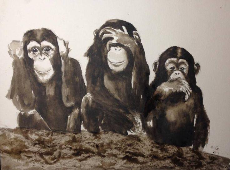 Ne rien entendre, ne rien voir, ne rien dire ou la sagesse des trois singes. Aquarelle monochrome sépia : Peintures par katia-golessi-les-toiles-de-katia