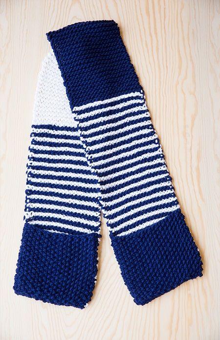 blauw-witte sjaal met zakken