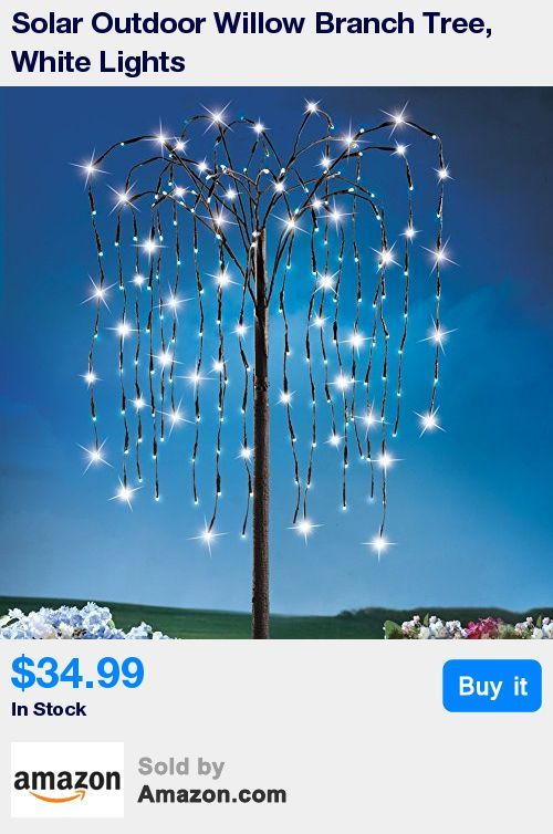 "Solar willow tree will make a unique addition to your outdoor decor * Stands 4 1/2 feet tall, adjustable branches hold 200 white LED lights for a beautiful show at night * 3-way light switch lets you choose steady-on, flashing or off * Includes 1 ""AA"" battery, made from iron and plastic * Measures 54"" high"