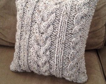 Cable Knit almohada cubierta gris claro lana 20 x 20.