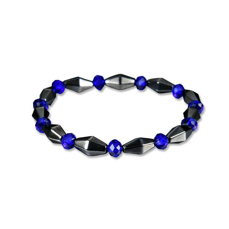 Men's Punk Bracelet Health Care Blue Crystal Magnet Stone Bracelet