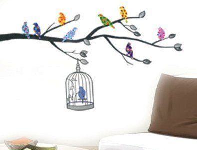 Bird in a Cage Blue with 8 Birds Multi colour Tree Branch Wall stickers by ROOMSTICKERZ, http://www.amazon.co.uk/dp/B00CPKPS78/ref=cm_sw_r_pi_dp_9ISBsb1WH97DG
