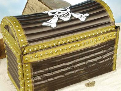 Stash your pirate booty in this inflatable treasure chest and keep your brews cold! Perfect for pirate parties! Looks like a realistic pirate chest with skull and crossbones on the top. When inflated, the cooler measures 25 inches x 13 inches x 18 inches.