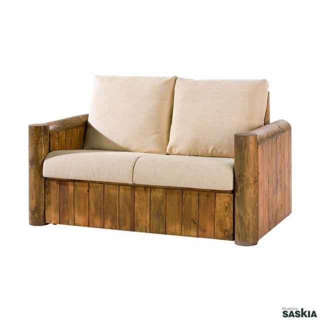 Sofá 2 plazas de estilo rústico, realizado en madera maciza de pino mexicano. Colección de mueble rústico mexicano.